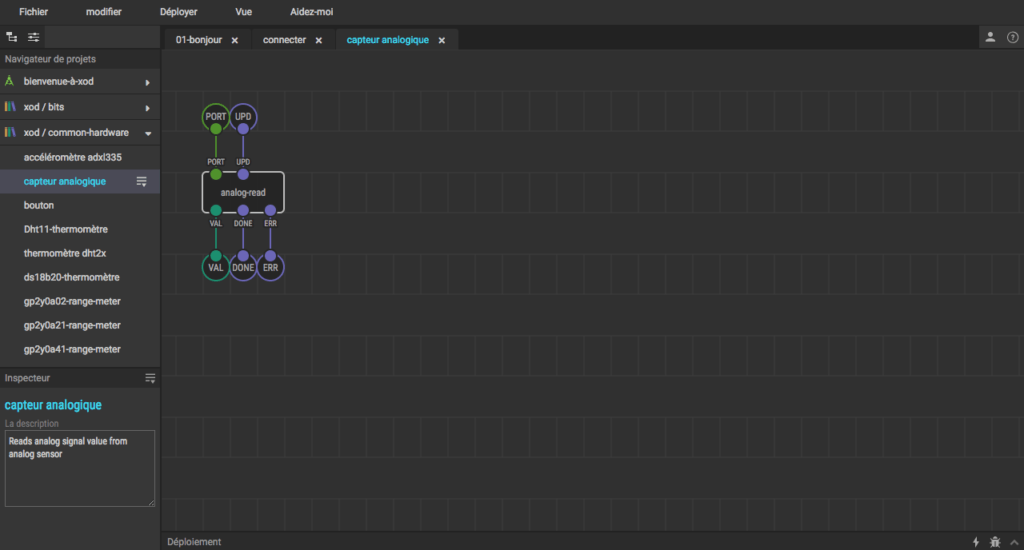 interface de programmation sur le site xod.io