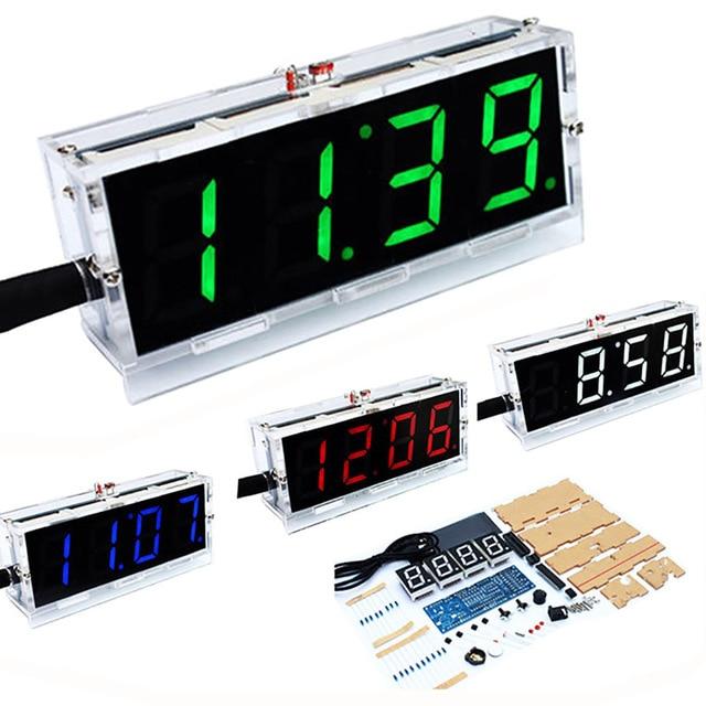 Diy Numérique Horloge Voix Chronométrage Horloge Kits, LED DIY SMC Formation Bricolage Électronique Horloge/Montre 4 couleurs (Pas de batterie)