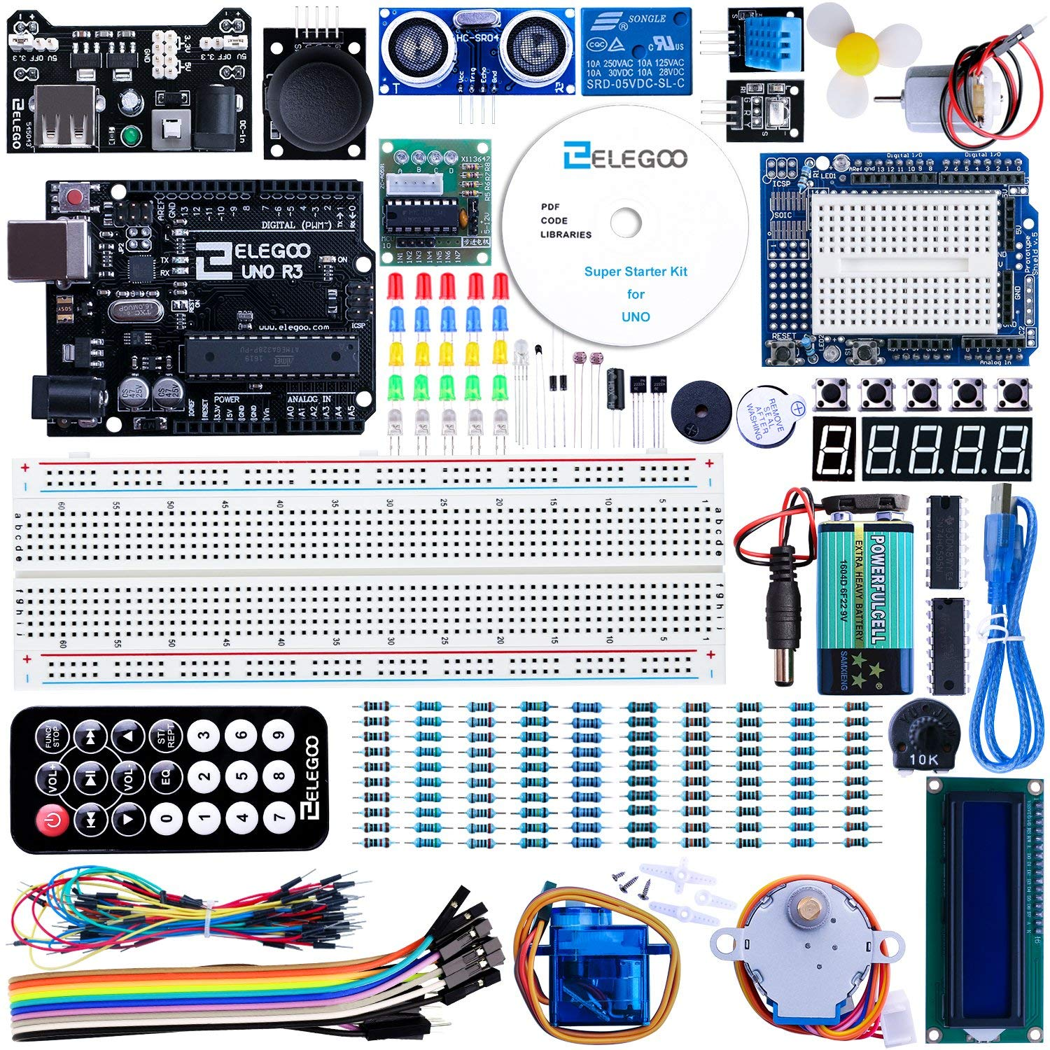 ELEGOO Arduino Carte UNO R3 Starter Kit de Démarrage Super Guide d'Utilisation Français Débutants Professionnels DIY