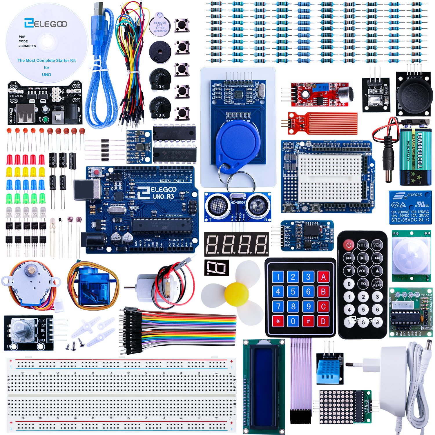 ELEGOO Arduino Carte UNO R3 Starter Kit de Démarrage Ultime avec Manuel d'Utilisation Français Le Plus Complet pour Débutants et Professionnels DIY