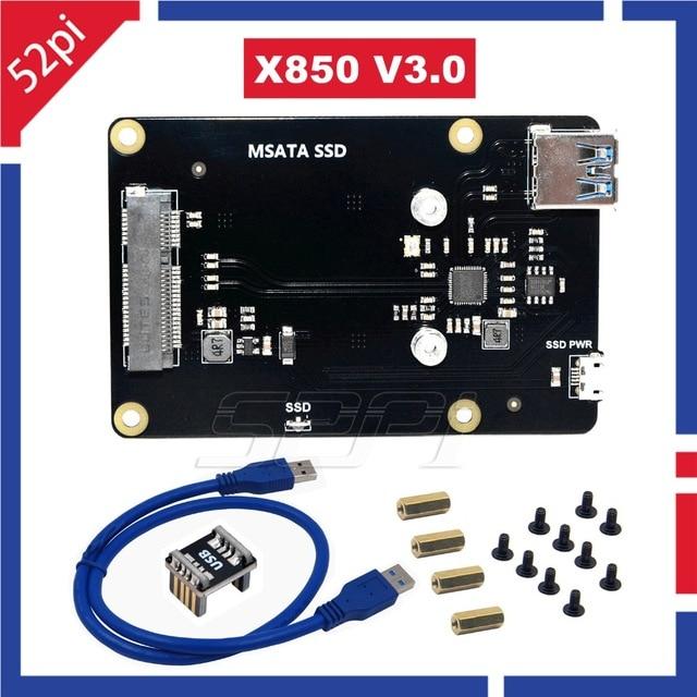 En Stock! 52Pi Nouveau X850 V3.0 mSATA SSD USB 3.0 Module D'extension D'extension De Stockage Conseil pour Raspberry Pi 3 B + (plus) /3 B