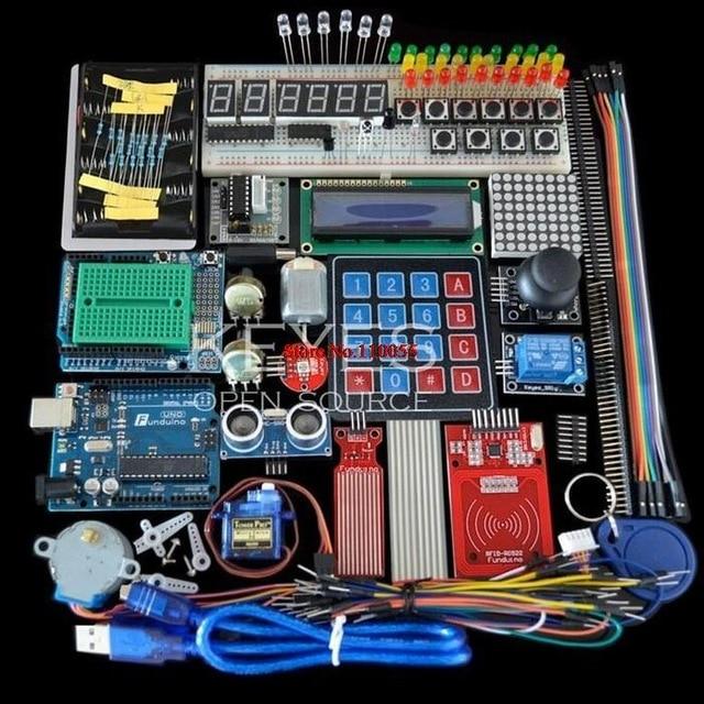 Kit de démarrage pour arduino Uno R3-Uno R3 Planche À Pain et support Moteur Pas À Pas/Servo/1602 LCD/ fil de cavalier/UNO R3
