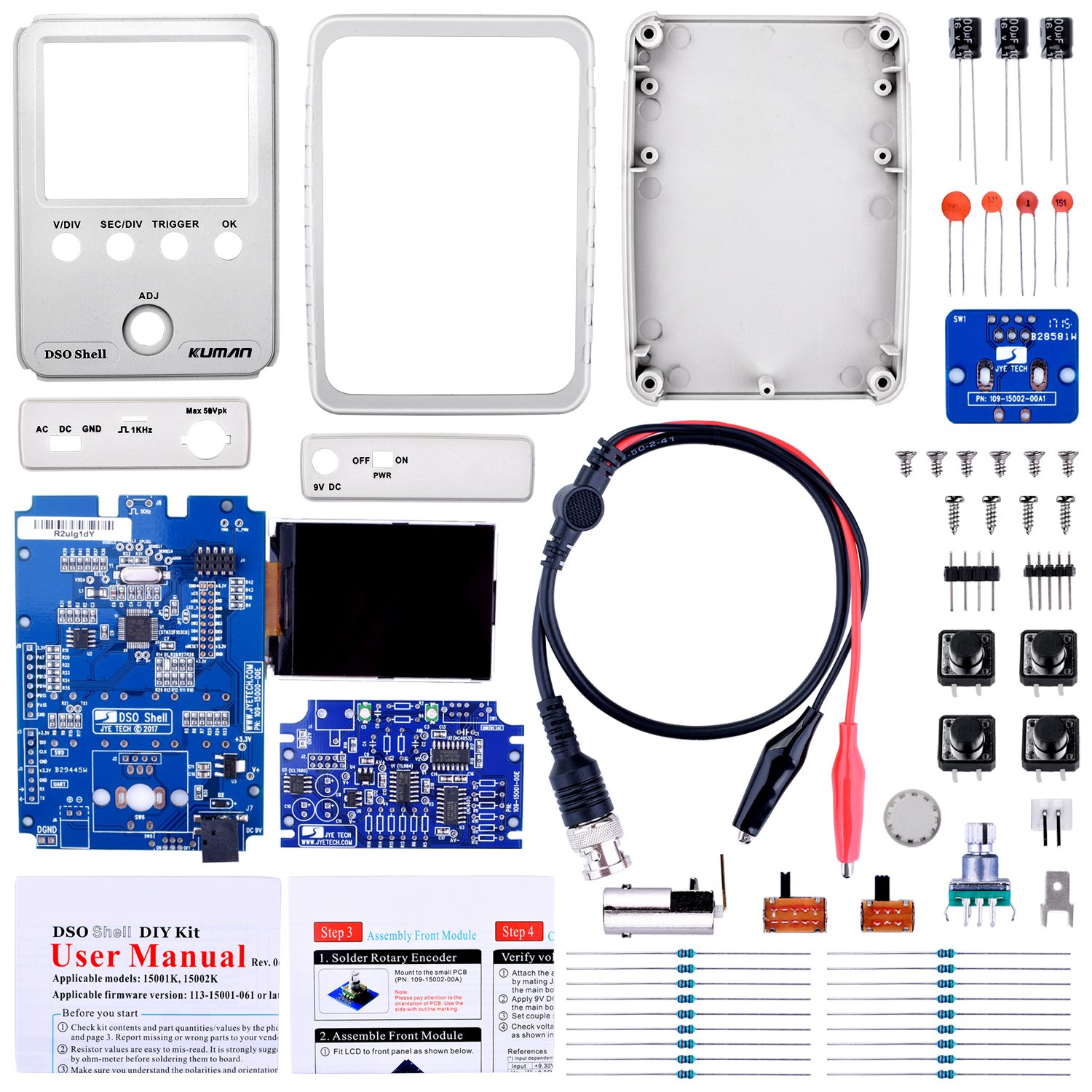 Kuman Oscilloscope Shell DSO JYE, DIY, Kit avec Source Open, 2.4 Pouces Couleurs TFT LCD + Shell + Parties DYI + Sonde 15001K (SMD pre-soude)