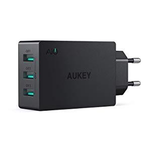 AUKEY Chargeur Secteur USB 3 Ports 30W 6A Chargeur Mural pour, iPhone XS / iPhone XS Max / iPhone XR, iPad Air/Pro, Samsung, HTC, LG, Nexus et les autres smartphones