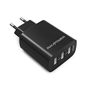 RAVPower Chargeur USB Secteur 3 Ports Universel Secteur Mural (30W / 5V 6A Total) avec Technologie iSmart, Adaptateur Secteur USB Mural Compatible avec iPhone XS/XS Max/XR / 8 - Noir