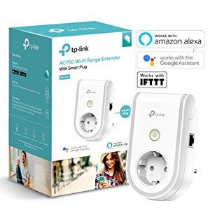 TP-Link - RE270K - Répéteur WiFi AC750 Mbps avec prise connectée WiFi avec Google Assistant et IFTTT , Blanc