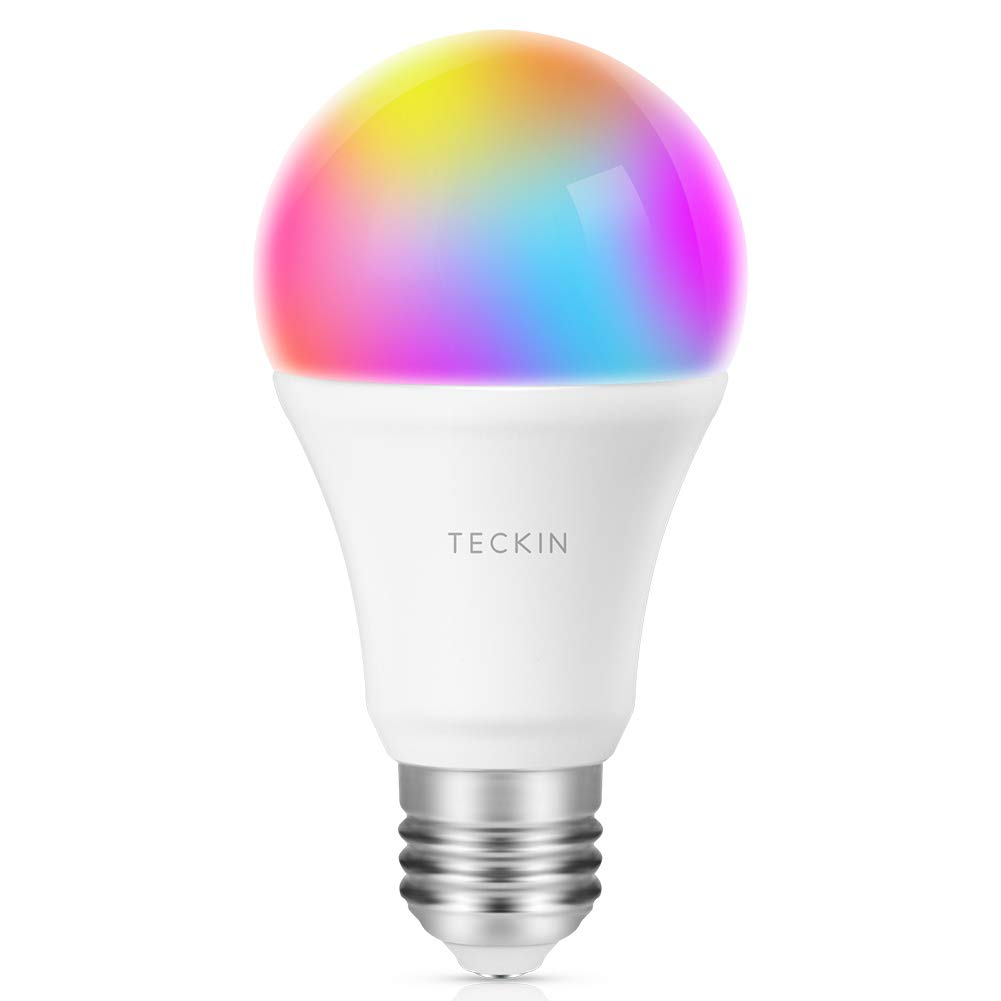 Ampoule LED Intelligente WiFi E27 à intensité variable et multicolore, Compatible avec, Google Home et IFTTT,TECKIN RGB Ampoule A19 60W 7,5W,Pas de Hub requis,1 pack