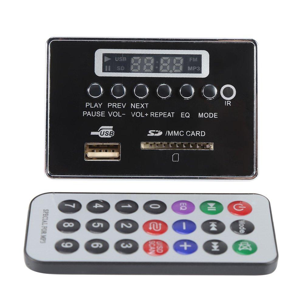 DC12V Module Décodeur Audio Bluetooth Support WMA/WAV/MP3 Disque Flash USB SD TF Radio FM avec Télécommande(Couleur Noir)