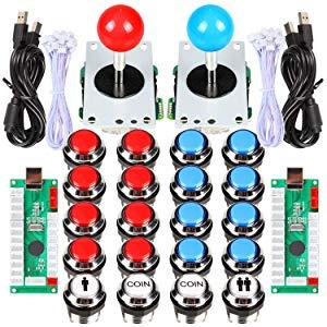 EG STARTS 2 joueurs classic Arcade Contest DIY Cabinet Kit USB Encoder à joystick jeux pour PC + plaqué Chrome LED Boutons monnaie Illuminati pour Mame Raspberry Pi projet de jeu