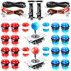 Hikig 2 joueurs LED Arcade Game Kit DIY 2x USB Encoder + 2x Joystick + 20x LED Bouton pour Raspberry Pi, PC Jeux arcade MAME, PS3 Control Support tous les systèmes Windows - Couleur Rouge + Bleu