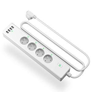meross Multiprise Connectée WiFi avec 4 Prises et 4 USB Ports, Multiprise Intelligente Compatible avec Alexa, Google Home et IFTTT, 2400W 10A Multiprise avec Contrôle à Distance et Fonction de Temps