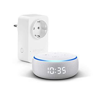 Nouvel Echo Dot (3ème génération), Enceinte connectée avec horloge et Alexa + Amazon Smart Plug (Prise connectée WiFi), Fonctionne avec Alexa