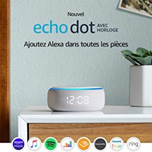 Nouvel Echo Dot (3ème génération), Enceinte connectée avec horloge et Alexa, Tissu sable