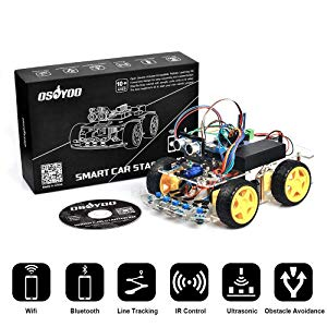 OSOYOO Arduino Robot Car Kit UNO R3 4WD WiFi Bluetooth IR Line Tracking DIY Car Set Engineering Fair Education Android iOS Remote Control Electronic Learning Kit with Video Tutorial