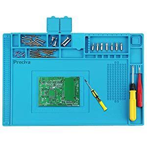 Preciva 450 * 300mm Tapis à Souder Anti-Statique en Silicone avec Magnétique Section Coupe vis Encoches, Tapis de Réparation, Station de Réparation de Soudure, Plate-Forme de Maintenance