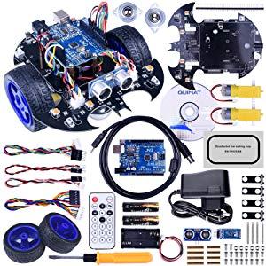 Quimat avec ArduinoIDE UNOR3 Robot Kit Project Smart Voiture avec Deux Roues Motrices QS10