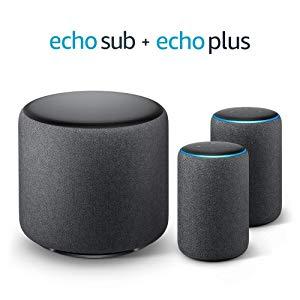 Système Stéréo Echo Plus - 2 Amazon Echo Plus (2ème génération), Tissu anthracite + 1 Echo Sub
